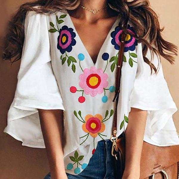 V Neck Flower Printed Ruffle Sleeve Blouse