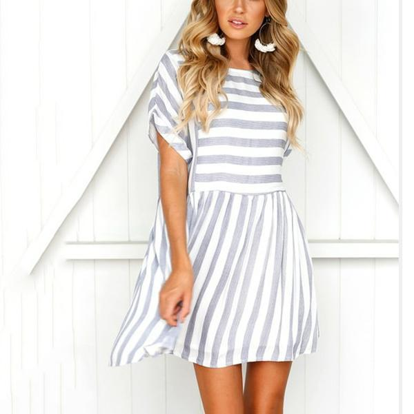 Sweet Stripe Short Sleeve Dresses