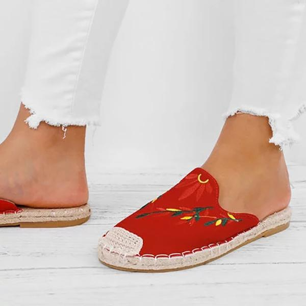 Fashion Embroidered Espadrille Flat Slipper