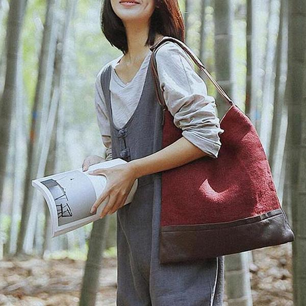 Literary Stitching Color Shoulder Bags