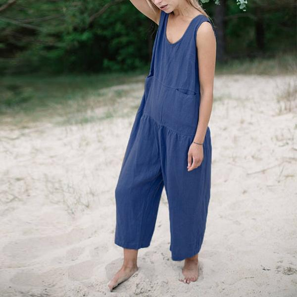 Casual Solid Color Sleeveless Jumpsuits