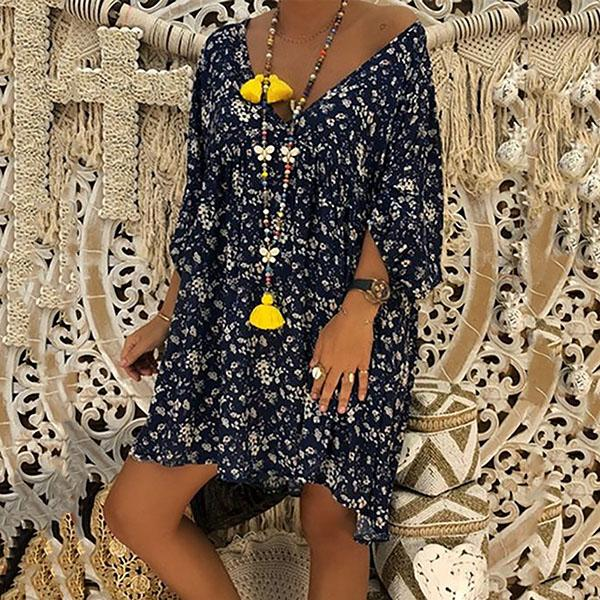 V Neck Long Sleeve Floral Dress