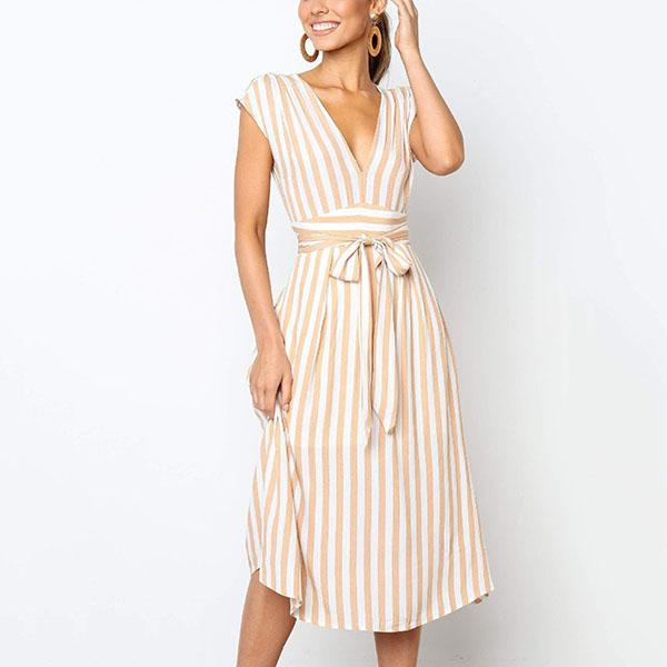 Striped Printed Lace Up Casual Dress