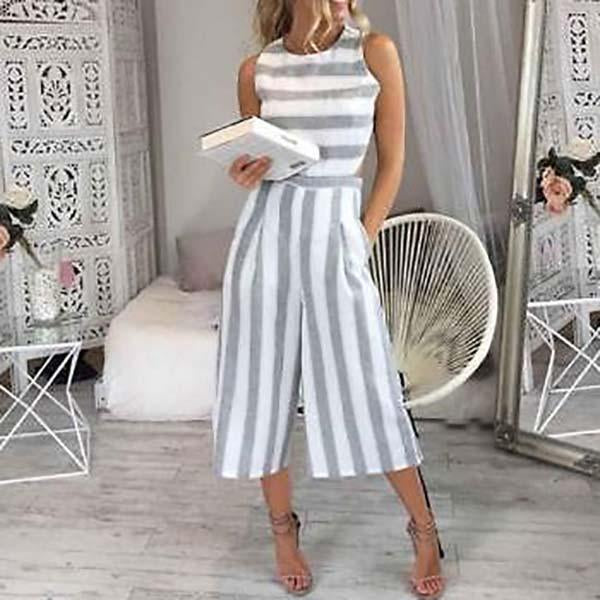 Casual Stripe Open Waist Jumpsuits