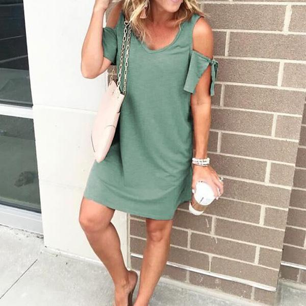 Fashion Strapless Solid Color Dresses