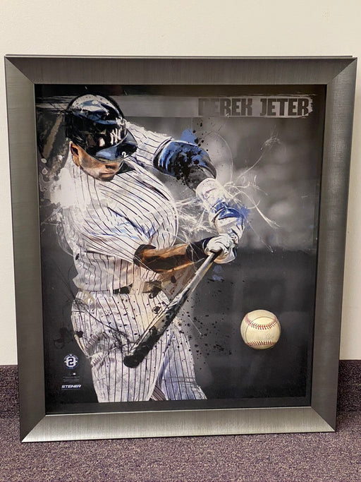 Awesome Derek Jeter Signed and Framed Game Used Baseball Piece