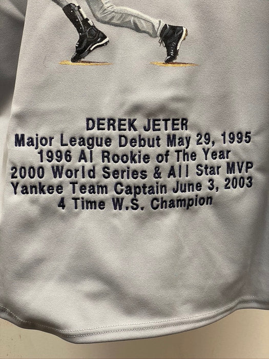 Derek Jeter Signed Authentic Gray Yankees Jersey with Original Painting from Artist Gregg Packer and Stitched Notable Stats
