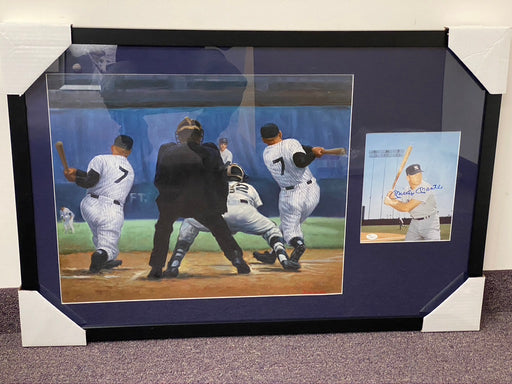 Mickey Mantle Original Painting by Artist Doo S. Oh with additional Autographed Photograph by Mickey Mantle