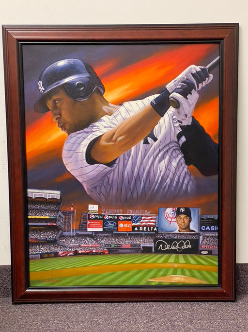 Original Signed and Framed Derek Jeter Painting