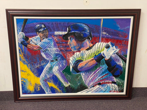 Derek Jeter Autographed and Framed Original Painting by Artist Billy Lopa