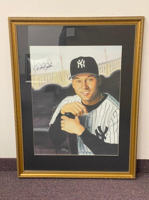 Derek Jeter Autographed and Framed Original Painting by Artist James Fiorentino