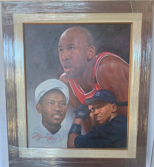 Michael Jordan original oil painting with father