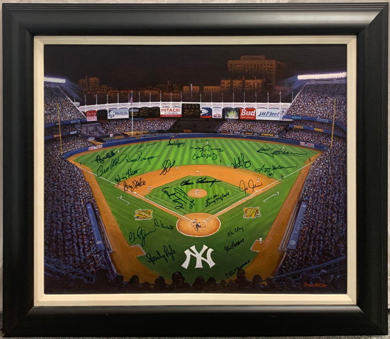 Yankee Stadium Original Painting with All Time Greats Autographs