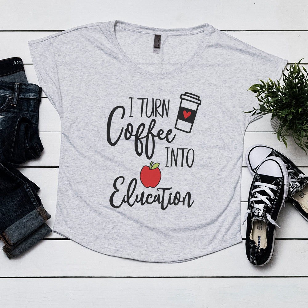 I Turn Coffee Into Education - Womens Dolman T-shirt
