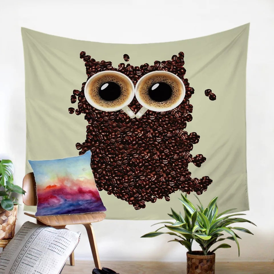 Owl Coffee Beans Tapestry