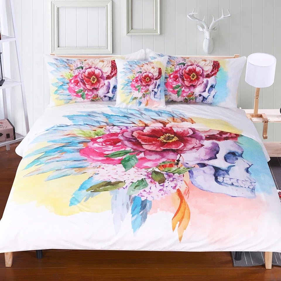 Colorful Skull and Floral Duvet Cover Set