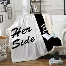 His & Her Side Sherpa Throw Blanket