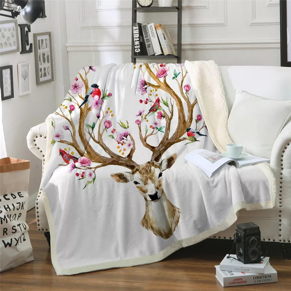 Elk Floral Sherpa Fleece Throw Blanket