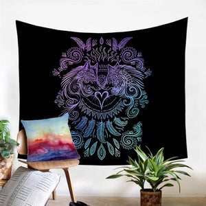 Blue and Purple Wolves Heart Tapestry