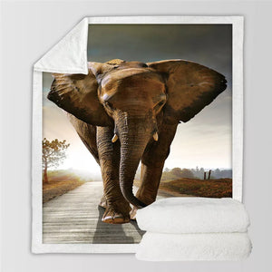Elephant Sherpa Fleece Throw Blanket