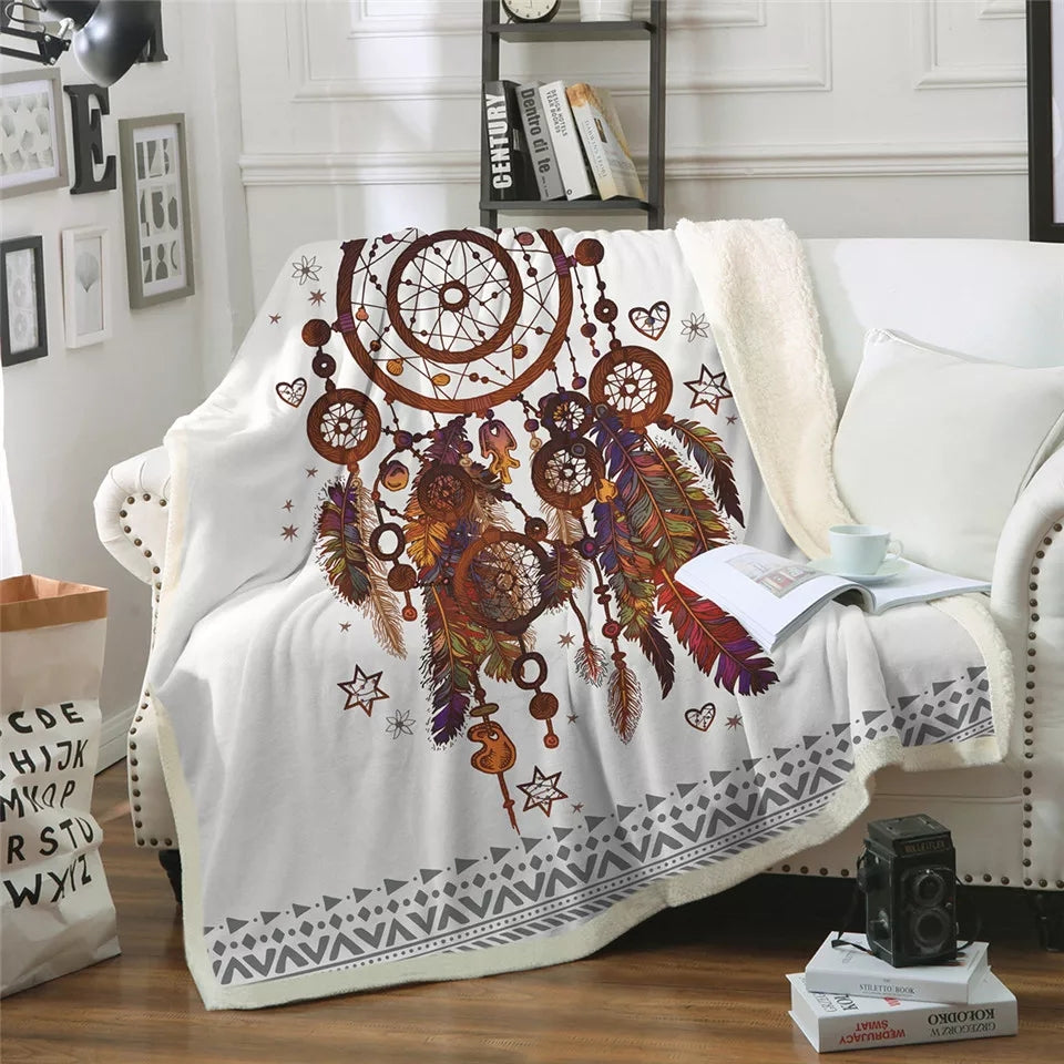 Dream Catcher Feathers Printed Soft Throw Blanket
