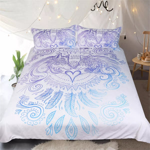Feathers Blue and White Duvet Cover Set