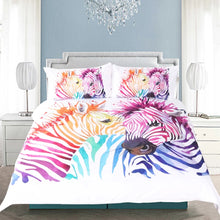 Zebra Rainbow Duvet Cover Set