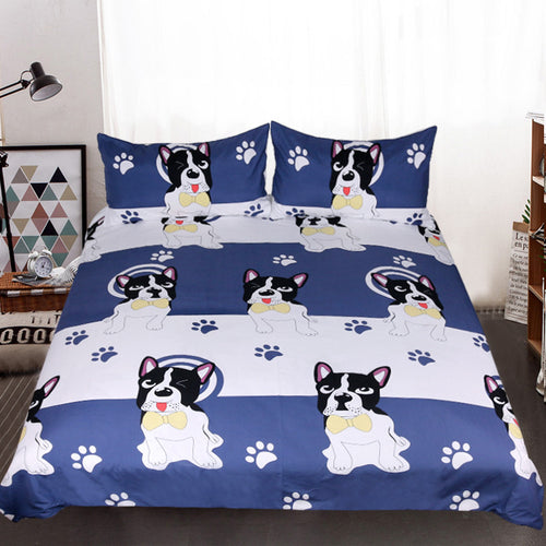 Bow Tie Dog Blue and White Duvet Cover Set