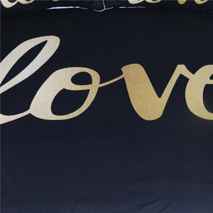 Black and Gold Love Duvet Set