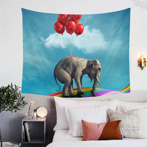 Elephant Riding Balloons Rising Tapestry