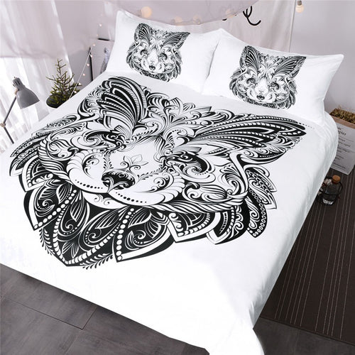 Fox Butterfly Shape Face Printed Duvet Cover Set