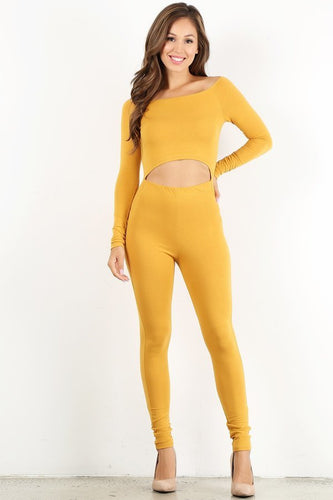 Mustard Off The Shoulder Unitard