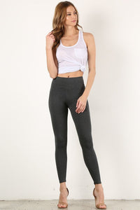 Charcoal Mid Waist Cotton Leggings