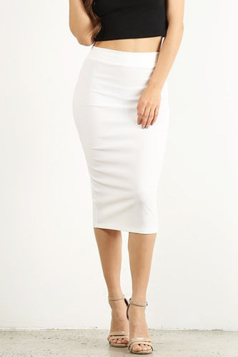 White High Waist Pencil Skirt