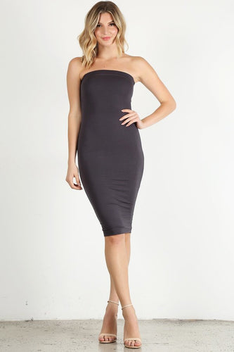 Dark Grey Tube Dress