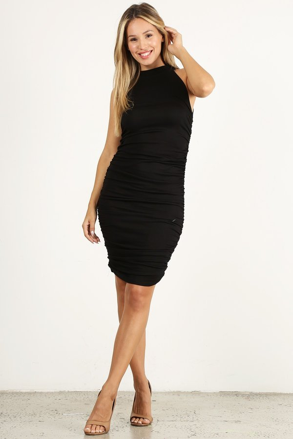 Black Scrunchy Sleeveless Dress