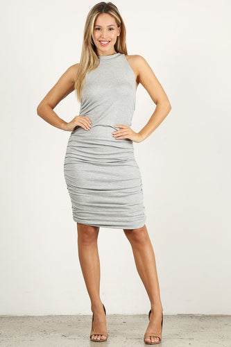 Heather Grey Scrunchy Sleeveless Dress