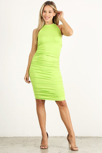 Lime Green Scrunchy Sleeveless Dress