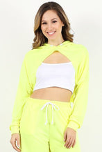 Load image into Gallery viewer, Neon Yellow Cut Crop Hoodie