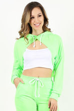Load image into Gallery viewer, Neon Green Cut Crop Hoodie
