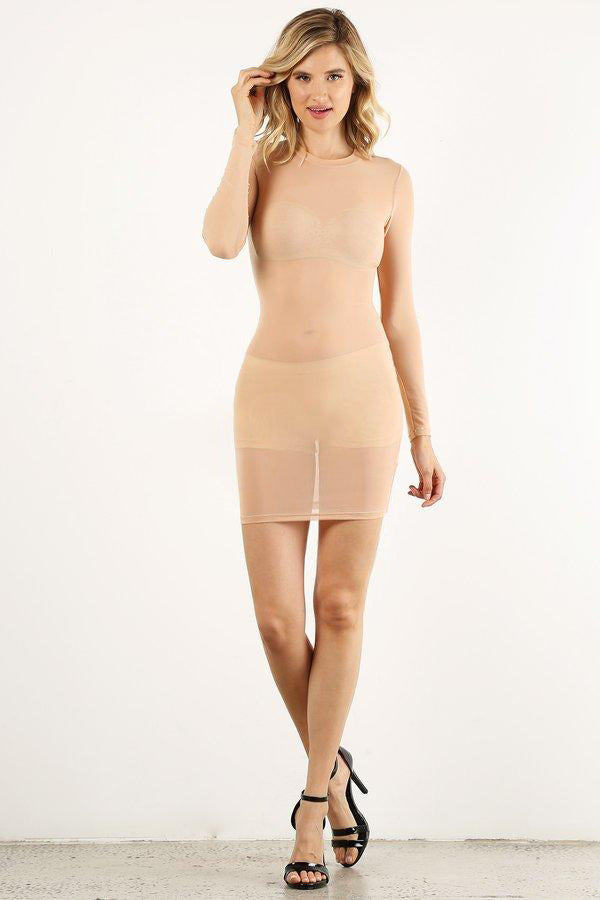 Nude Mesh Mini Dress
