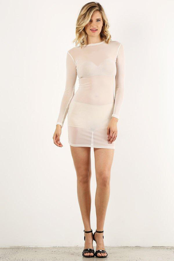 White Mesh Mini Dress