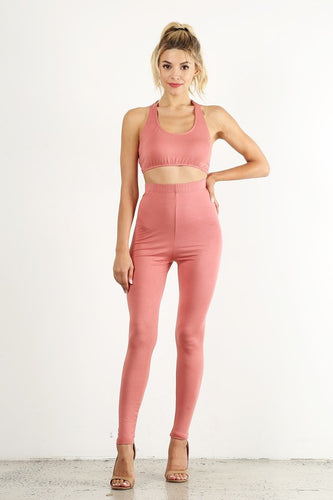 Peach 2pc Legging Set
