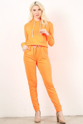 Neon Orange Sweat Suit Set