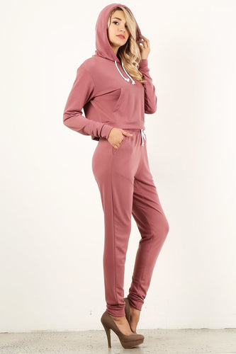 Deep Pink Sweat Suit Set