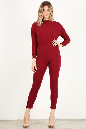 Burgundy Long Sleeve Unitard
