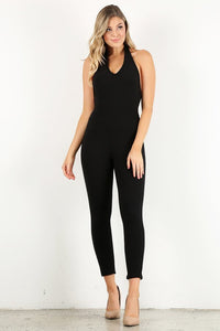Black Rib Halter Jumpsuit