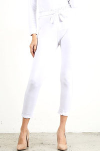 White Front Scrunch Tie Pants