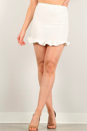 White Ruffle Mini Skirt