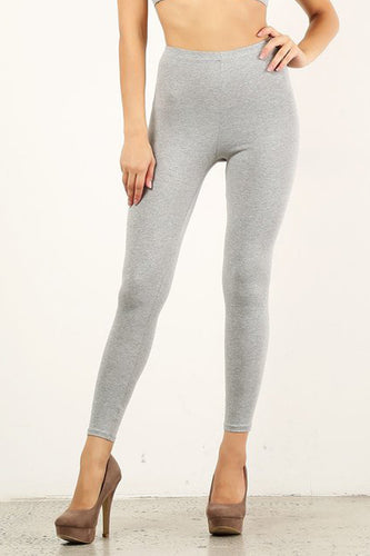 Heather Gray Mid Waist Cotton Leggings